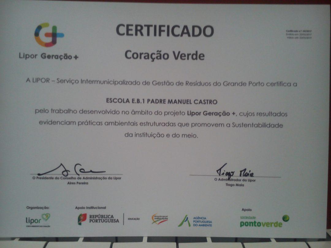 """Certificação """"Coração Verde"""" Lipor Geração +"""