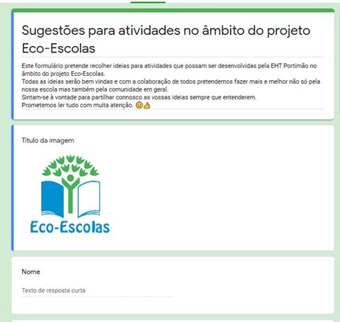 Formulário de sugestões de atividades Eco-Escolas