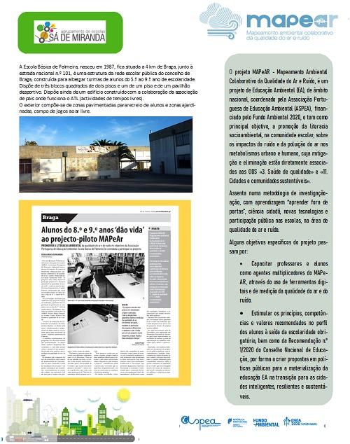 Escola Básica de Palmeira: Projeto MAPeAR – Mapeamento Ambiental Colaborativo da Qualidade  do Ar e do Ruído
